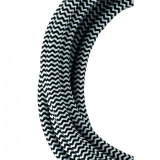 Textilkabel 2C Schwarz Weiß 50 Meter