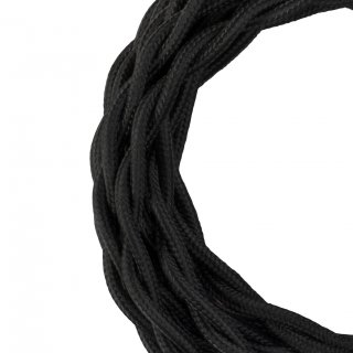 Textile cable Twisted 2C black 50 meters Bailey