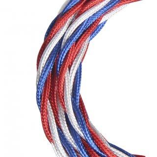 Textilkabel Twisted gedreht 3C blau weiß rot 3 Meter Bailey