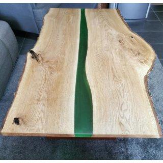 Massiver Wohnzimmertisch Eiche natur 110x60x40cm River Table Epoxidharz