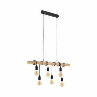 EGLO Pendant lamp black brown steel wood