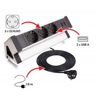 Design Light DESK BOX Alu 3x Schuko 2x USB Typ A 1,8m Kabel