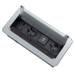 INBOX Versenkbare Einbausteckdose mit Bürstendichtung Aluminium Alu 3 Meter Kabel  2x Schuko 1x HDMI 1x RJ45 230V