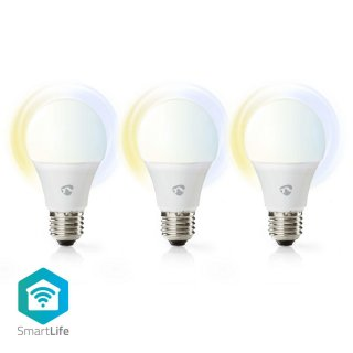 NEDIS SmartLife WLAN LED E27  3er Pack 9W 800lm Dimmbar weiss, neutral weiss, warmweiss 2700 - 6500K A+ Android iOS 60mm