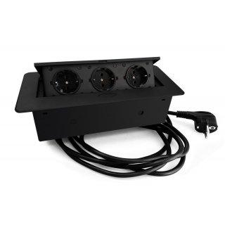 Versenkbare Einbausteckdose Kombibox mit Klappdeckel schwarz 3m Zuleitung 3xSchuko