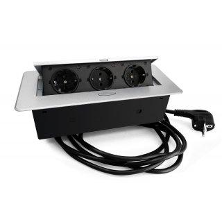 Kombibox Einbausteckdose mit Klappdeckel Alu 3m Zuleitung 3xSchuko